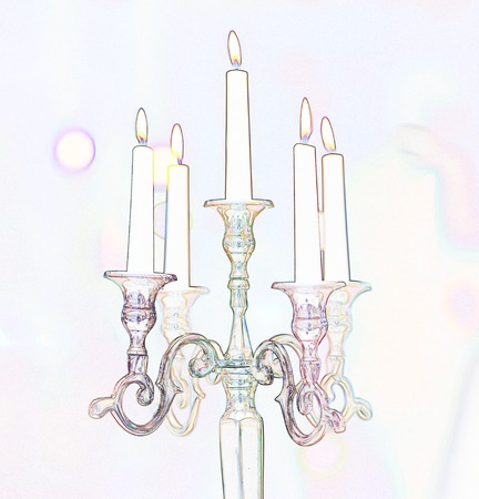 Retro candle holder silhouette, ornamental vintage style decoration on colorful background Stock Photo