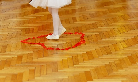 dancefloor: little bridesmaid girl legs in white dress on wedding dancefloor with rose petals
