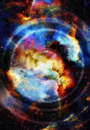 metaphysical: Audio music Speaker with color effect. Cosmic space and stars, cosmic abstract background, space music, music concept