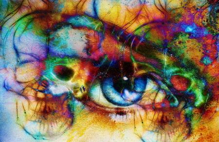 eye contact: women eye and skull, computer collage, Eye contact