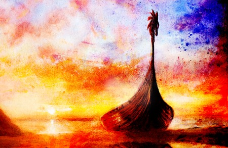 blu: Viking Boat on the beach, painting on canvas, Boat with wood dragon. And structure background, red, orange, yellow, black, violet and blu color Stock Photo