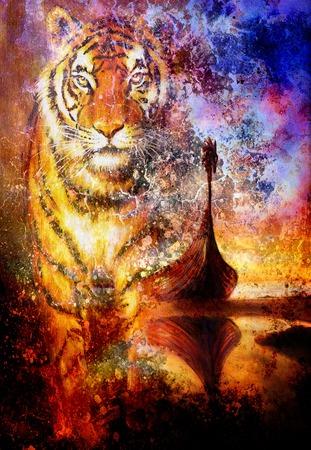 vikingo: Barco vikingo en la playa, y la cabeza del tigre, pintura collage sobre lienzo, madera del barco con el dragón. estructura fondo, rojo, naranja, amarillo, negro, violeta y azul