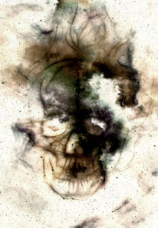 Skull and fractal effect. Color space background, computer collage. Elements of this image furnished by NASA Stock Photo
