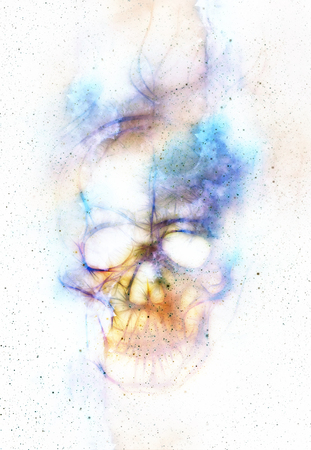 psychedelic: Skull and fractal effect. Color background, computer collage Stock Photo