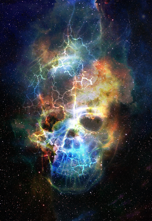 nasa: Skull and fractal effect. Color space background, computer collage. Elements of this image furnished by NASA Stock Photo