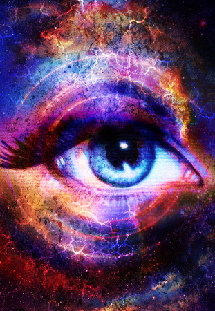modern existence: Woman Eye and cosmic space with stars and circle light.  Flah in space, abstract color background, eye contact