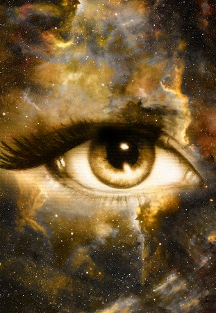 modern existence: Woman Eye and cosmic space with stars.  abstract color background, eye contact Stock Photo