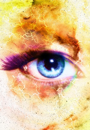 modern existence: Woman Eye and cosmic space with stars and flash.  abstract color background, eye contact
