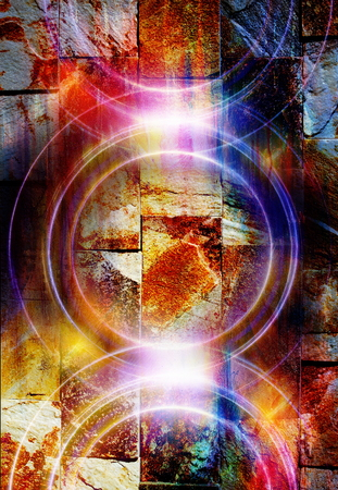 metaphysical: silhouette music Speaker on rock wall , Light Circle. Music concept