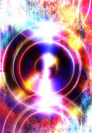 metaphysical: silhouette of music Audio Speaker on abstract background, Light Circle. Music concept