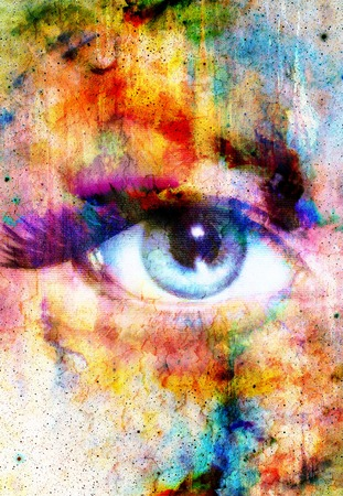metaphysical: Woman Eye and abstract color background, eye contact
