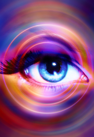 Woman Eye and abstract color background, eye contact
