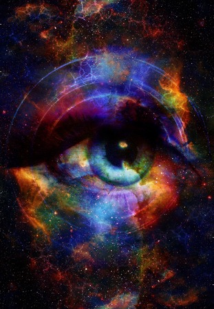 Woman Eye and cosmic space with stars and music speaker silhouette. abstract color background, eye contact, music concept Фото со стока