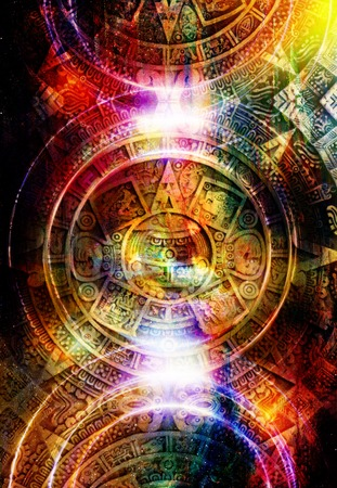 Ancient Mayan Calendar, abstract color Background, computer collage. Circle structure