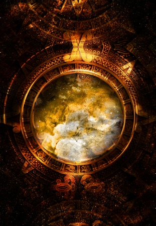 stone background: Ancient Mayan Calendar, Cosmic space and stars, abstract color Background, computer collage Stock Photo