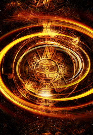yeloow: Ancient Mayan Calendar, Cosmic space and stars, abstract color Background, computer collage. Yeloow circle