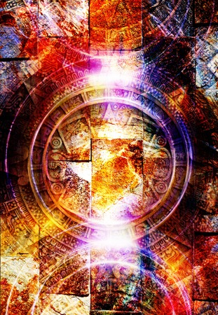 mayan calendar: Ancient Mayan Calendar, abstract color Background, computer collage. Wall structure