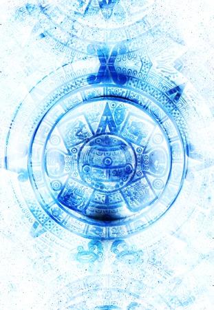 mayan calendar: Ancient Mayan Calendar, abstract color Background, computer collage Stock Photo