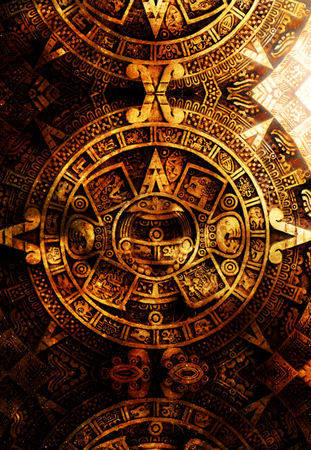 Ancient Mayan Calendar, abstract color Background, computer collage Stock Photo