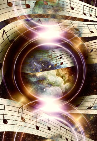 music note and silhouette music speaker and Space with stars. abstract color background. Music concept Archivio Fotografico