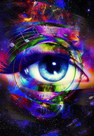 heart tone: music note and woman eye, abstract color background, music concept