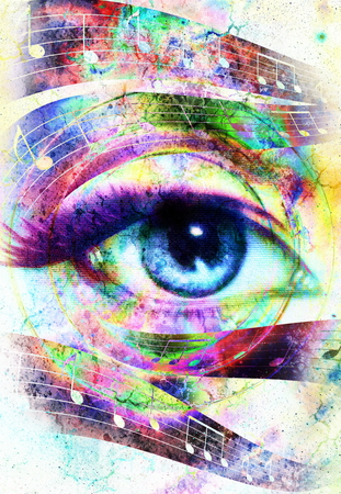 modern existence: Woman Eye and music note and cosmic space with stars. abstract color background, eye contact