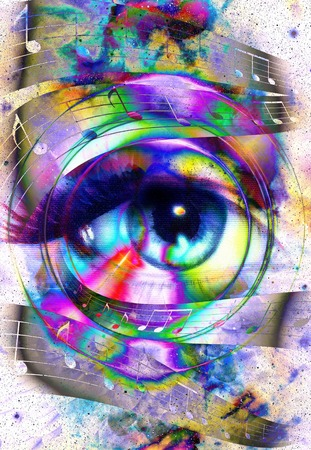 meditative: Woman Eye and music note and cosmic space with stars. Audio music speaker silhouette. abstract color background, eye contact