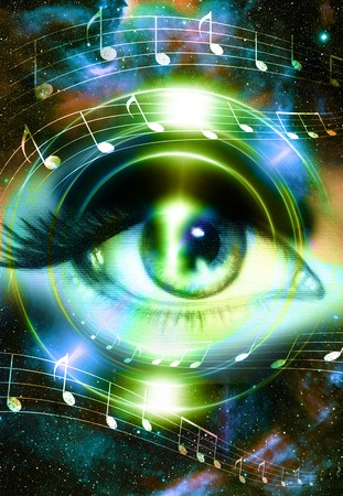 modern existence: Woman Eye and music note and cosmic space with stars. Audio music speaker silhouette. abstract color background, eye contact