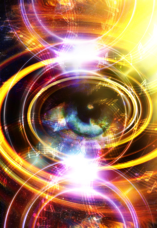fire circle: Woman Eye and music note and cosmic space with stars. abstract color background, and yellow light, fire circle. eye contact