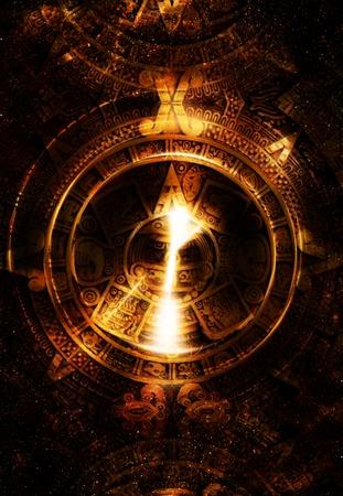 cultura maya: Calendario maya antigua y la silueta de la música del altavoz de audio, el espacio cósmico con estrellas, fondo de color abstracto, collage ordenador. Círculo de la luz. concepto de la música