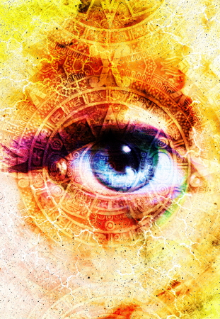 mayan calendar: Ancient Mayan Calendar and woman eye,  abstract color Background, computer collage