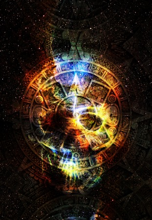 black eye: Ancient Mayan Calendar and skull in cosmic space with stars, abstract color Background