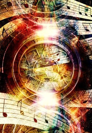 light circular: Ancient Mayan Calendar and  Music note, Cosmic space with stars, abstract color Background, computer collage. light circular in space..