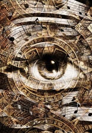 makeup eyes: Ancient Mayan Calendar and woman eye with  Music note, abstract color Background, computer collage