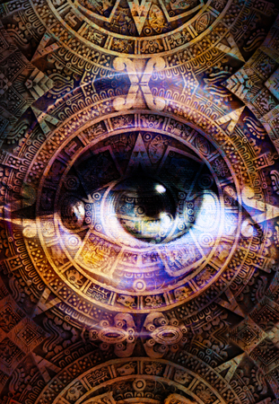 Ancient Mayan Calendar and woman eye, abstract color Background, computer collage. Eye in circle light