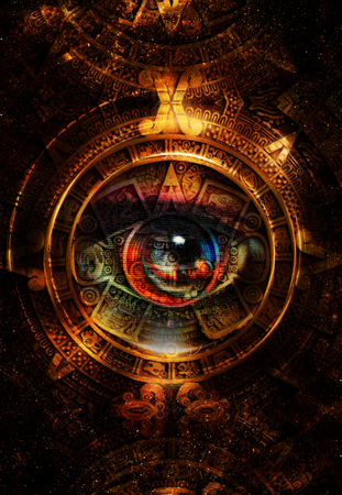 mayan: Ancient Mayan Calendar and woman eye,  abstract color Background, computer collage. Eye in circle light