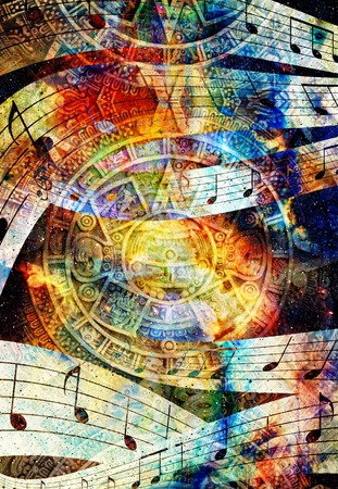 mayan calendar: Ancient Mayan Calendar and  Music note, Cosmic space with stars, abstract color Background, computer collage. circular view on space