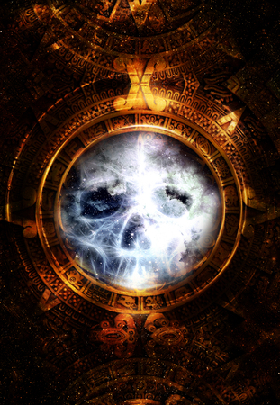 mayan calendar: Ancient Mayan Calendar and skull,  and fractal and ice effect. abstract color Background.