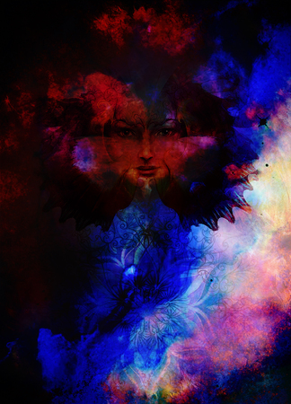 conceiving: Beautiful Painting Goddess Woman with bird phoenix on your face with ornamental mandala and butterfly wings and color abstract background  and eye contact Stock Photo