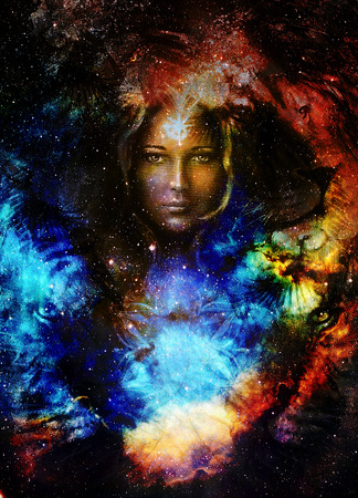 modern existence: Goodnes woman and lion  and bird in space with galaxi and stars. profile portrait, eye contact