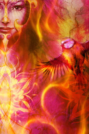 metaphysical: beautiful illustration women and mandala in fire, with birds on multicolor background eye contact Stock Photo