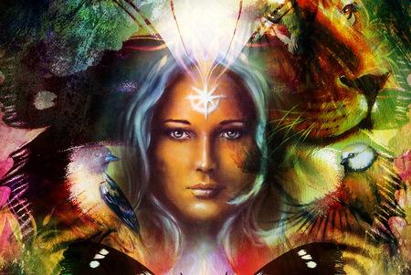 ser humano: pintura poderoso león y cabeza de tigre, y la cara de la mujer mística con el pájaro y la mariposa, del fondo del ornamento. ordenador collage, retrato de perfil Foto de archivo