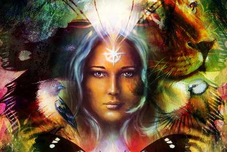 schilderen machtige leeuw en tijger hoofd, en mystieke vrouw gezicht met vogel en vlinder, ornament achtergrond. computer collage, profiel portret Stockfoto