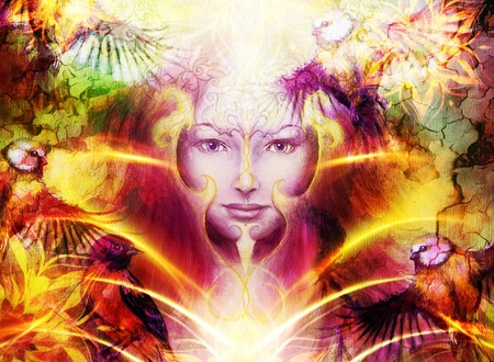 conceiving: Beautiful Painting Goddess Woman with ornamental mandala and color abstract background  and bird with fire Stock Photo