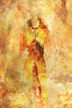 nature woman: woman sketch drawing, crackle  and lava structure Stock Photo