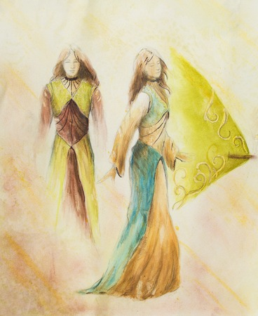 middle age: sketch of mystical woman  in beautiful ornamental dress  inspired by middle age design, with ornamental pattern on background