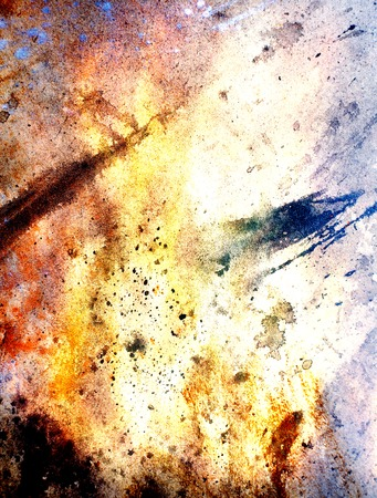 airbrush: Painting Abstract  Fire on paper and spoots., Airbrush painting