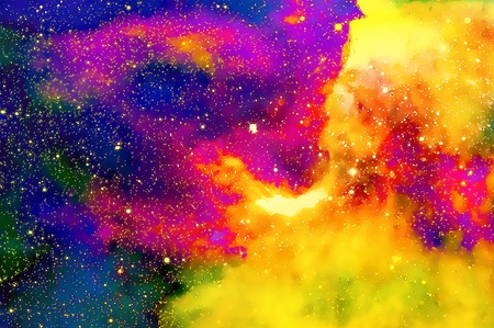 Nebula, Cosmic space and stars,  color background. fractal effect. Painting effect. Elements of this image furnished by NASA