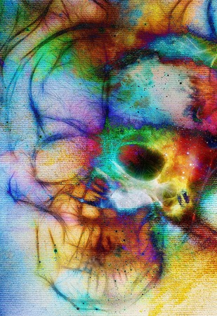 metaphysical: Skull and fractal effect. Color space background, computer collage. Elements of this image furnished by NASA Stock Photo