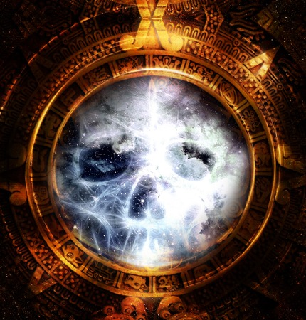 psyche: Ancient Mayan Calendar and skull,  and fractal and ice effect. abstract color Background Stock Photo